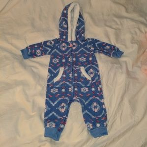Carter's Hooded Blue Fleece Jumpsuit Size 3 mo